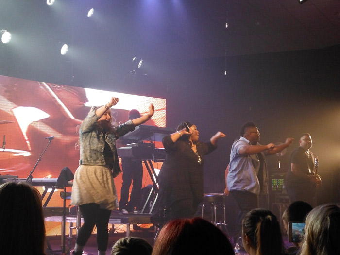 "Mandisa and others dancing to ""Good Morning."""