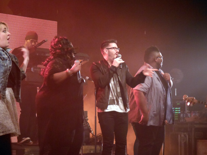 "Danny Gokey joining Mandisa on stage for ""Good Morning."""