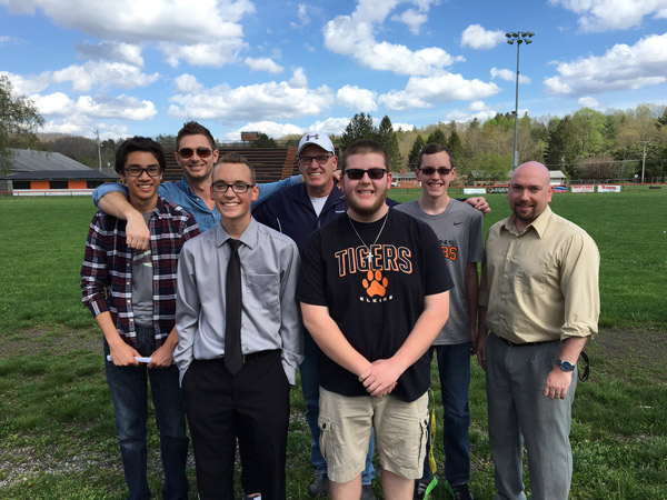 L-R: Daniel Rubianto, Dylan Dilly, Jacob Vandevender, Shawn Dilly. Back row: Randy Ellis, Youth Pastor at Summit Church, Elkins Mayor, Van Broughton, and Levi Dilly.